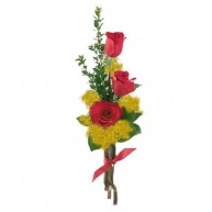 Bouquet di Mimose e 3 rose rosse